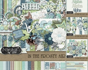 On Sale 50% Winter, Snow, In The Frosty Air Collection Digital Scrapbook Kit, Scrapbooking