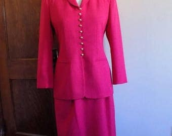 80s Pink Suit, Jacket, Blazer, Skirt, Two Piece, 1980s Kasper ASL Petite, Pink, Gold, Magenta, Suit, Size 4P, Womens Vintage Clothing