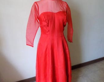 50s Red Gown, Red Dress, Christmas Dress, Womens Vintage Clothing, 1950s Womens Vintage, Vintage Christmas,  Vintage Dress, Size 14