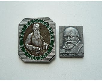 Set of 2 vintage Soviet badge of the 1980s
