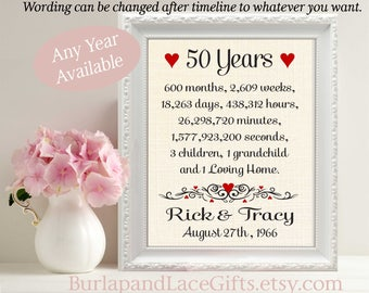 50th Anniversary | 50 Years Together | Years Months Weeks Days Hours Minutes Seconds | 50th Wedding Anniversary Gift Wife (ana207-50)