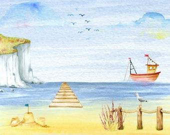 Digital illustration 'Boat' and the same design greeting card