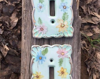 Vintage Switch Plate Cover, Hand Painted,