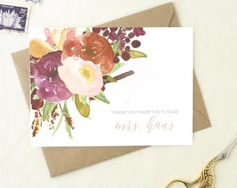 Newly Engaged Gift Shower. Thank You Cards. Gifts for Her. Personalized Wedding Cards. Floral Thank You Cards. From the Future Mrs Card.