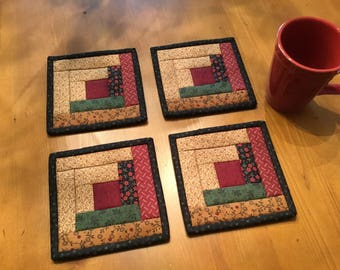 Log Cabin Mug Rugs / Quilted Mug Rugs / Country Decor /Handmade /Farmhouse Decor / Item #2086