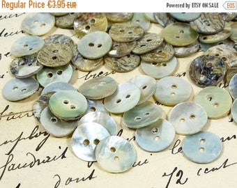SALE 100 Mother of Pearl Shell Buttons, French Vintage, white, mother-of-pearl, Collection, set, lot, Scrapbooking, project, crafts Sewing