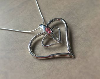 Silver Heart with Pink topaz