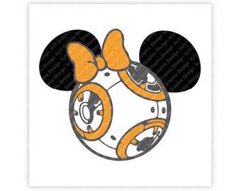 Disney, Star Wars, BB8, Mickey, Minnie, Mouse, Ears, Head, Icon, Illustration, TShirt Design, Cut File, svg, pdf, eps, png, dxf