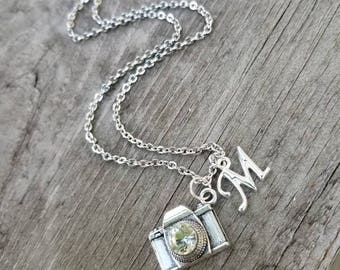 Camera necklace, silver camera jewelry, personalized camera necklace, gift for photographer, I love photography necklace, initial necklace