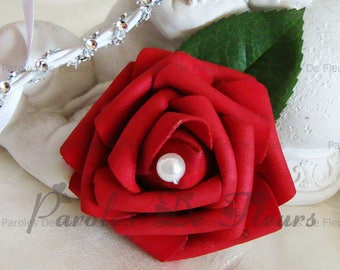 Red rose boutonniere and bead color choice