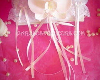 White Orchid garter or cabaret customize ivory
