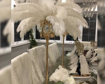 24 Tall GATSBY LARGE CRYSTALS Gold Crystal Globe Stand Ostrich Feather Centerpiece Great Gatsby