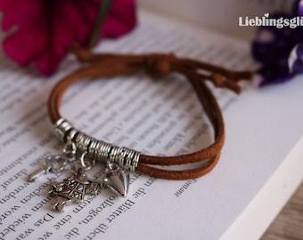 Alice in Wonderland bracelet with Brown strap