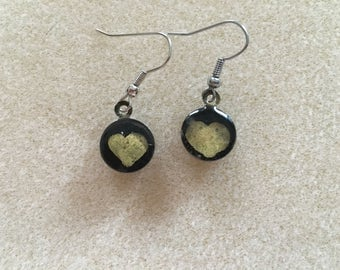 Gold Heart Resin Drop Earrings