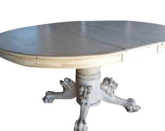Distressed White/Cream Shabby Chic Round/Oval Dining Table