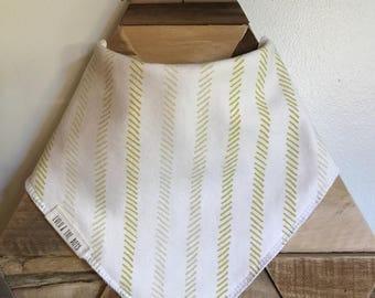 mustard color striped bandana bib//bandana bib with yellow stripes//bib with mustard color stripes//yellow bandana bib