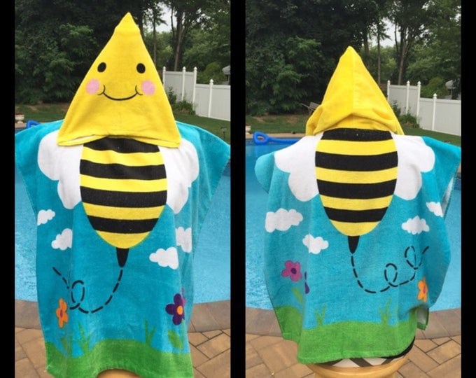 Bumble Bee hooded Cotton Beach Poncho Towel Personalized