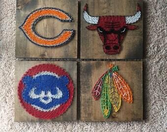 4 (Chicago Bulls, Chicago Bears, Chicago Cubs, Chicago Blackhawks) Chicago Sports Team String Art Wood Signs