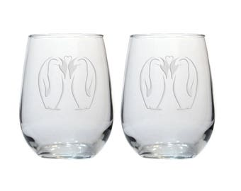 Kissing Penguin Wine Glasses / Set of 2 / Free Personalization / 17 oz Penguin Stemless Wine Glass / Personalized Glass / Personalized Gift