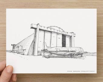 Ink Sketch of Tillamook Air Museum in Tillamook, Oregon - Drawing, Art, Architecture, Airplane, Blimp, Dirigible, Pen and Ink, 5x7, 8x10