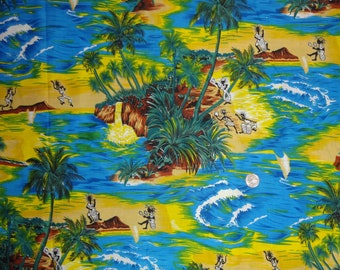 Hawaiian Palm Trees Natives Island Blue Cotton Quilting Fabric BTY by the yard