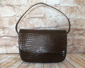 Vintage Handbag Purse By Jane Shilton Brown Croc Patent Real Leather Boho Chic Bohemian Made In England c1980s