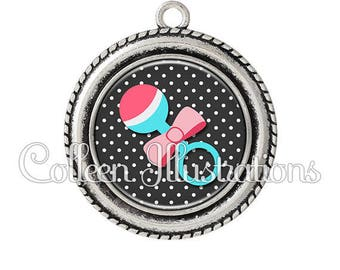 Pendant cabochons 25mm toy rattle baby child nanny - 15 series.