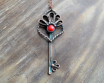 Coral copper key, flower jewelry, red and blue pendant, talisman