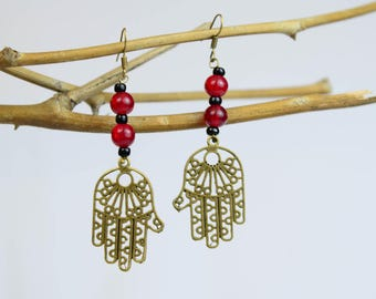 Hamsa Earrings with Black and Red Beads