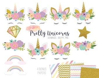 BUY 2 GET 1 FREE 33 pretty unicorn clipart - cute unicorn clip art - rainbow unicorn party clipart - rainbow clipart - Commercial Use ok