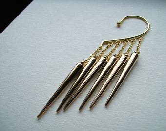 Gold ear cuff  with acrylic sticks