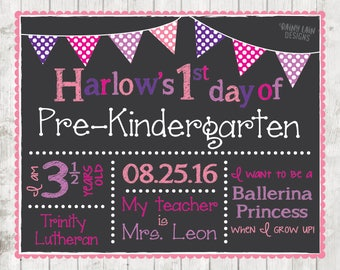 First day of school sign, First day of Pre-K sign, Pre-Kindergarten Chalkboard poster, 1st day of school sign, Back to School Sign Printable