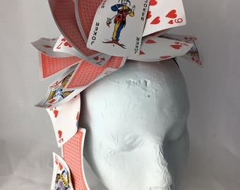 Alice in Wonderland Fascinator ~ Hearts & Diamonds ~ Handmade hair accessory, hat, hairband ~ Queen of Hearts ~ Mad Hatter tea party