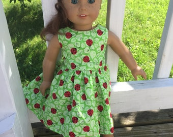 Handmade ladybug dress for an American Girl doll
