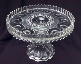 Manhattan Cake Dessert Stand US Glass 1902 - 10 Crystal Early American Pattern Glass
