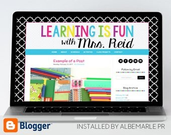 Premade Blogger Template, Mobile Responsive, Teacher Blog Template, Classroom Blog - Mrs. Reid