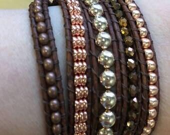 Rose gold/ copper leather wrap bracelet