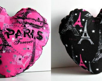 Heart shaped pillow with Paris print