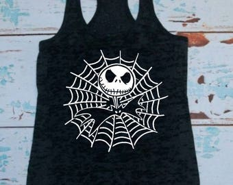 Jack Skellington, T-shirt or Tank Top, Disney, Jack and Sally, Spider Web, Not so scary, Men, Women, Kids, Disney family, Cruise