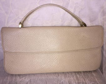 1950s textured cream handbag
