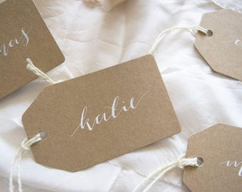 Modern Calligraphy Placecards, Kraft Card Paper Placecards, White Ink Placecards