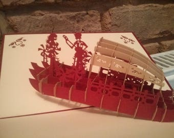 3D card - a romantic encounter on the river / holiday / boat / love