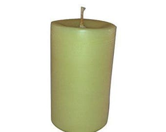 """Handmade organic 100% organic golden yellow Beeswax pillar candle with cotton wick. 3"""" x 4.2"""" 9oz candle dye free naturally scented"""