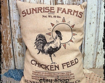 Handmade Primitive Sunrise Chicken Feedsack Style Pillow or Panel