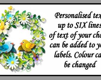 Personalised Bird Floral Self Adhesive Labels x 21
