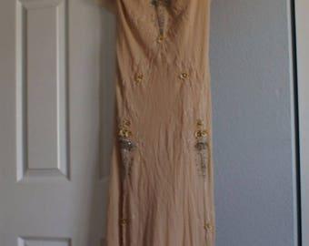 Vintage style JIANINI handmade beaded 100% silk formal evening gown long dress