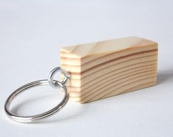 Handmade Simple Pine Wood  Wooden Block Keyring Keyfob