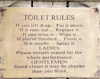funny bathroom sign. funny sign. funny toilet sign. funny gift. Toilet Rules. water closet sign. office toilet sign.