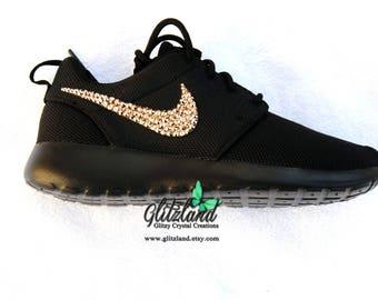 Swarovski Nike ALL Black Roshe Run blinged with Rose Gold SWAROVSKI® Crystals