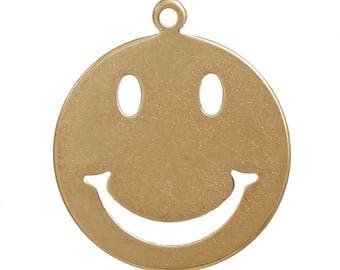 "Metal pendant, emoticon, charm ""smiley""-5 pieces-brass colors"